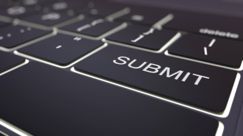 Modern black computer keyboard and luminous submit key. 3D rendering