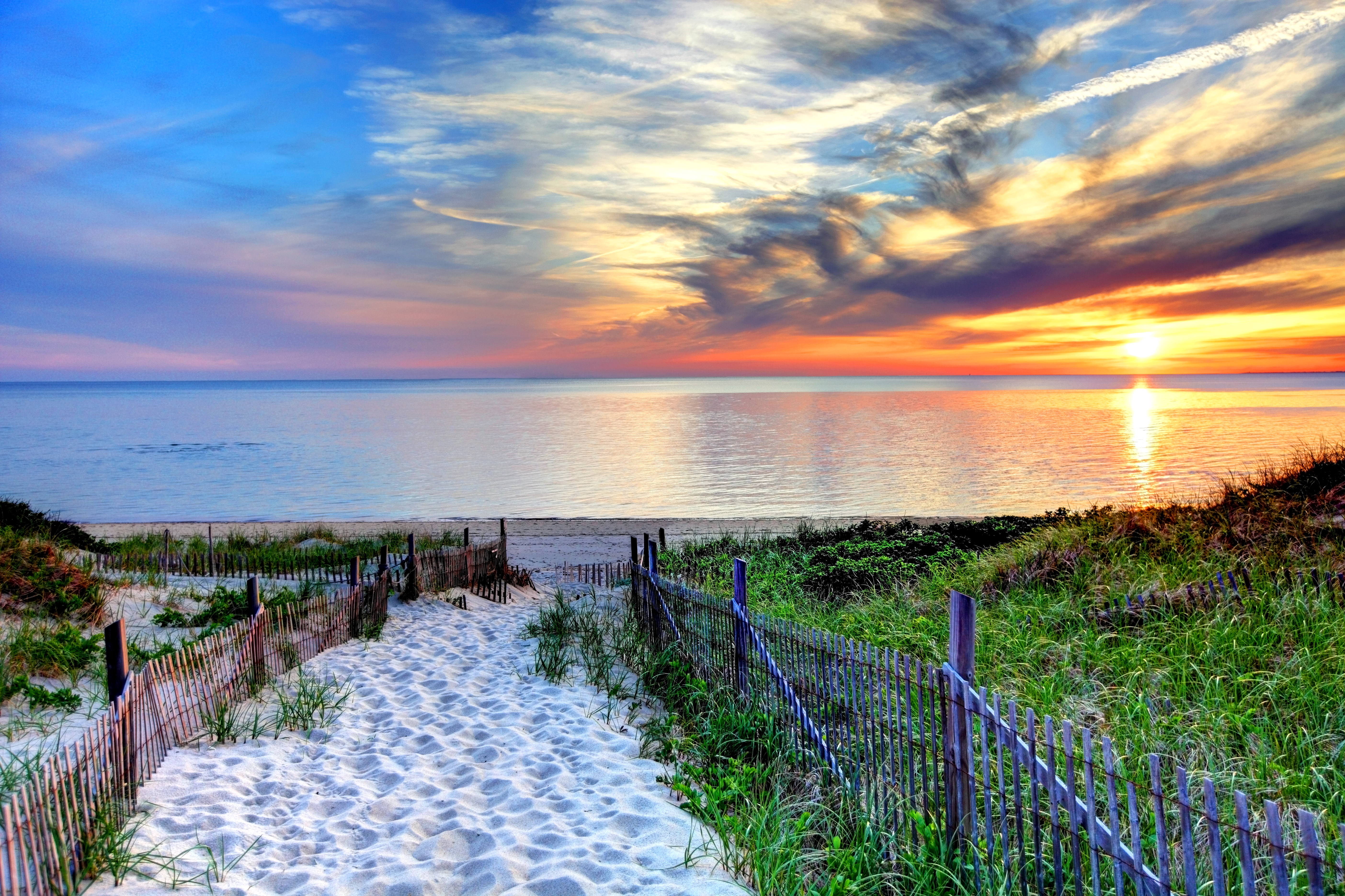 Path with beach fence on Cape Cod