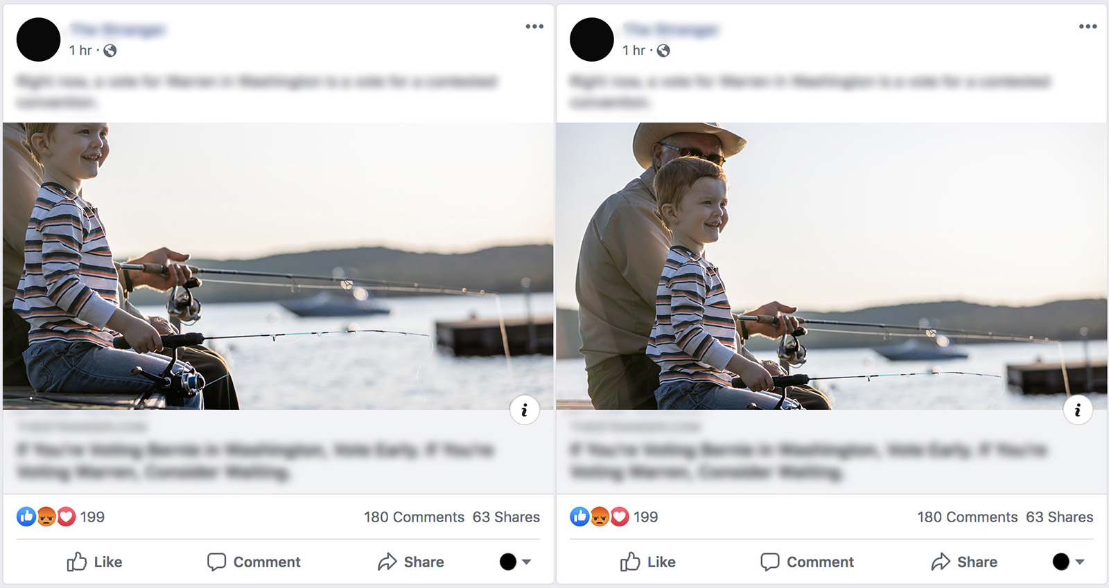 side by side comparisons of an image with a boy to illustrate the effects image size has on quality when posting to social media