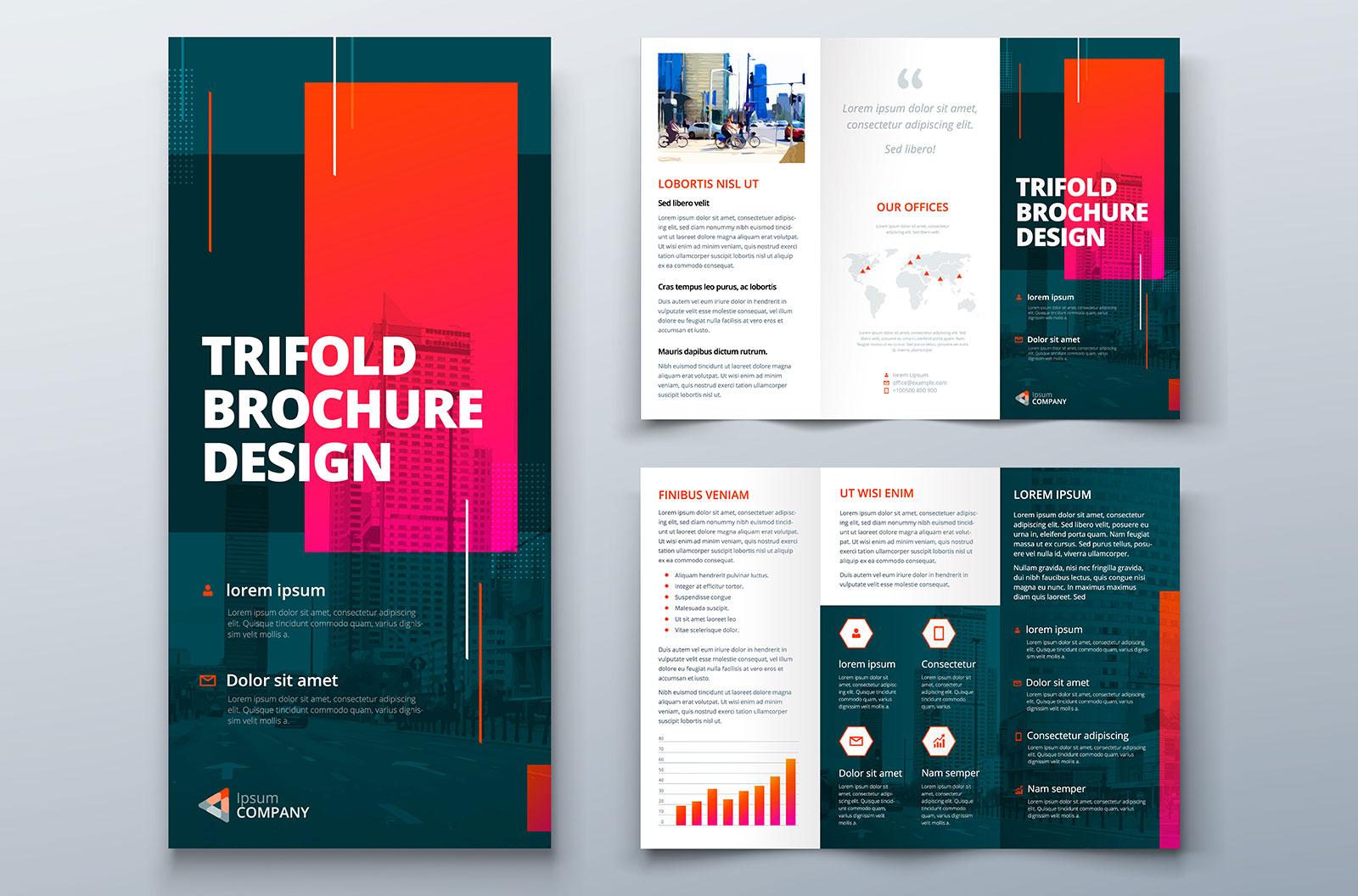 Tri-fold brochure template design for corporate business
