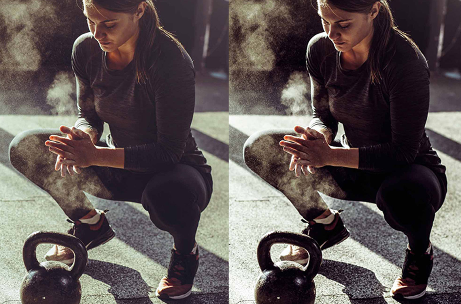 Side by side image comparisons of a fit woman rubbing chalk on her hands to illustrate different shadow and highlight settings