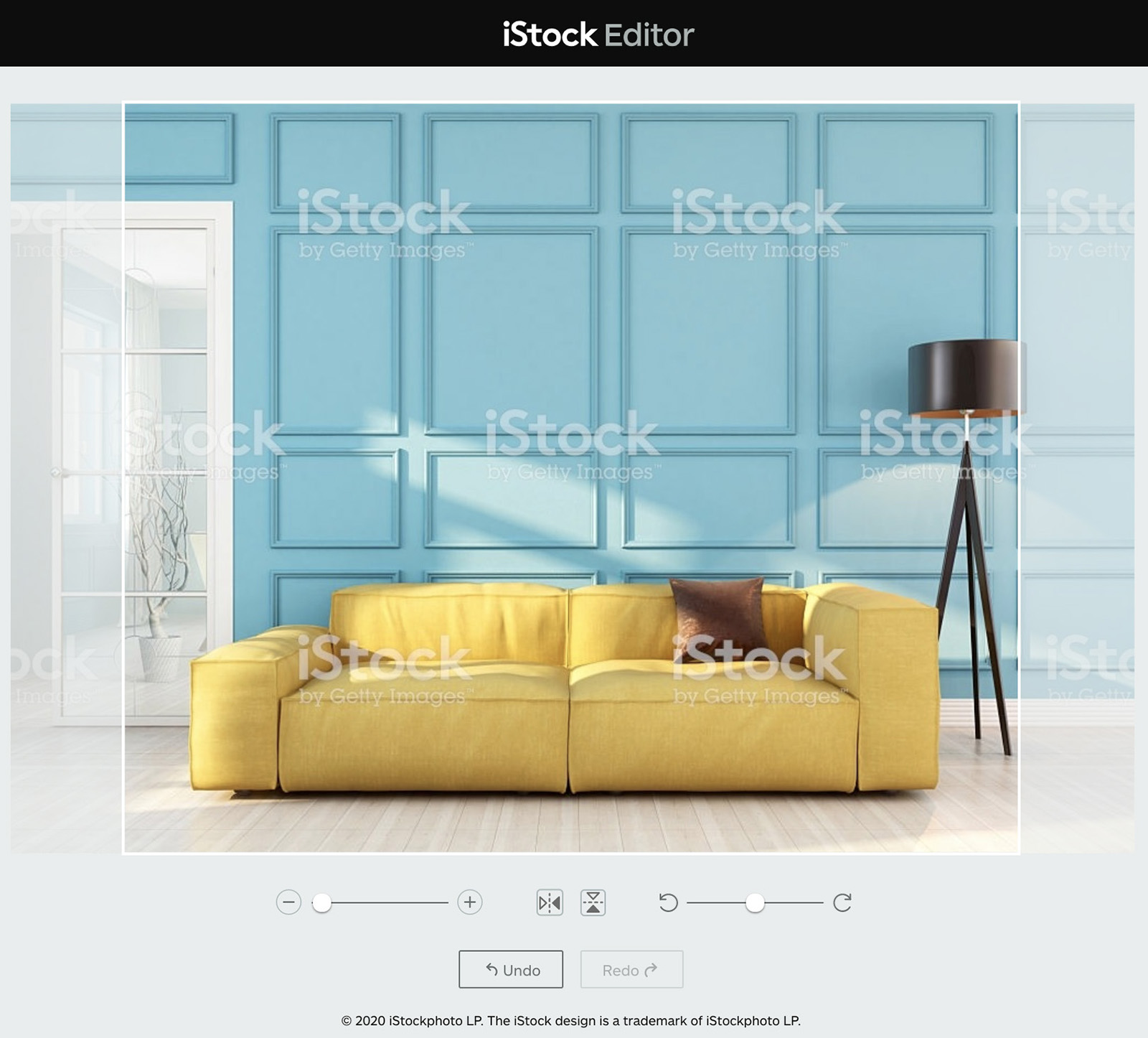Illustration of how to resize an image of a yellow couch in a colorful living room