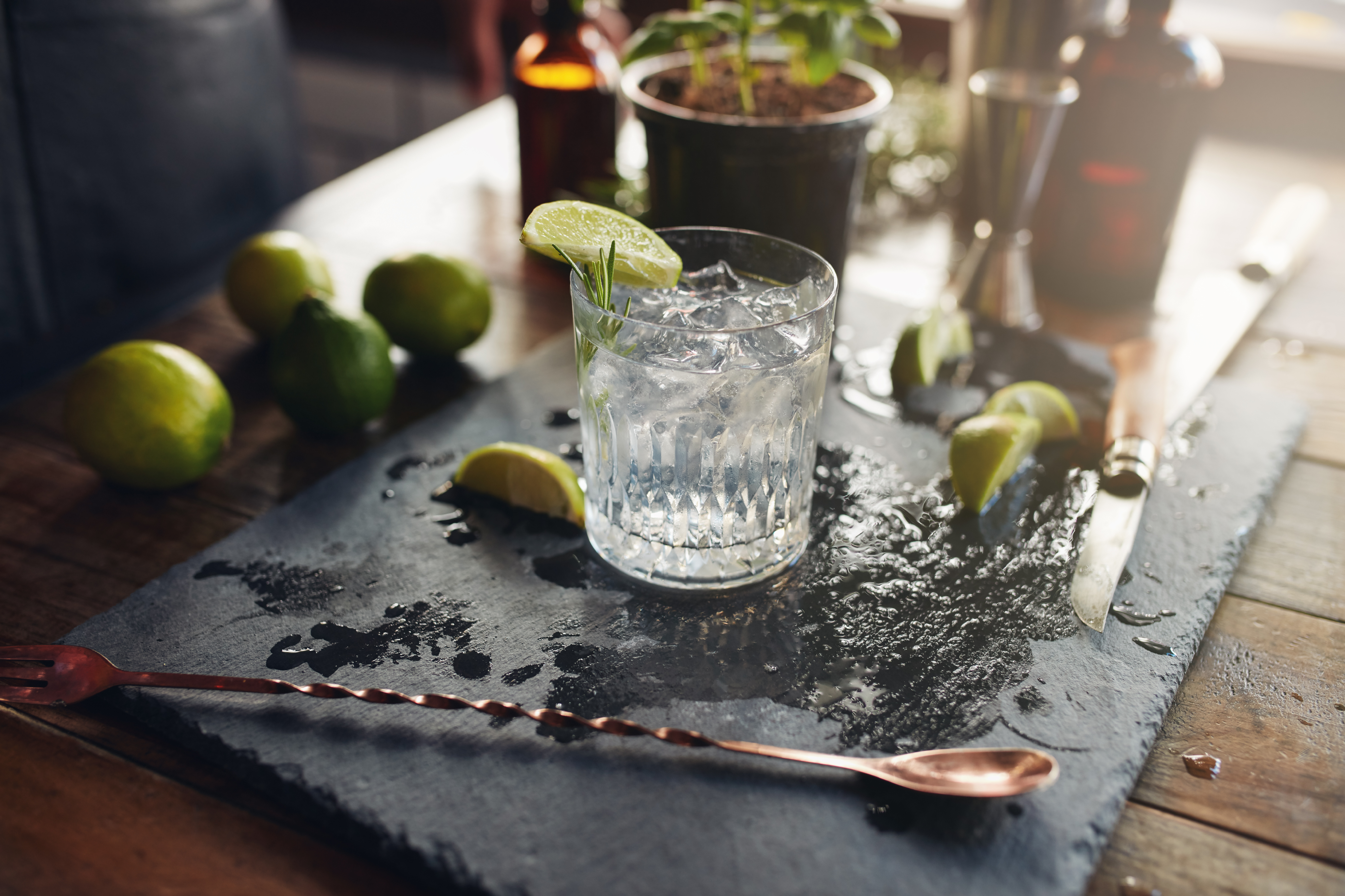 Glass of a freshly prepared cocktail drink