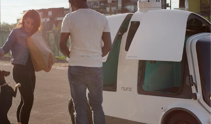 写真 : アリゾナ州の公道を走行する米ニューロの無人配送車「R1」とその利用風景(出所:ニューロ)